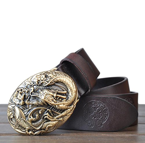 "Cinture UOMO stile retrò in pelle cuoio di grano pieno 100% Leather Belt for Men puro rame drago fibbia con una perforatrice di cintura di metallo Bonus 1.4"" larghezza tutti regalo di Natale ideale di dimensioni per gli uomini"