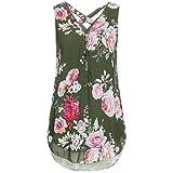 ESAILQ Damen Frauen Casual Kurzarm Stretch Falten Tunika Bluse Sommer Obteile mit Knöpfen V-Ausschnitt Ladies Shirt mit Gummizug Am Saum(M,Armeegrün)