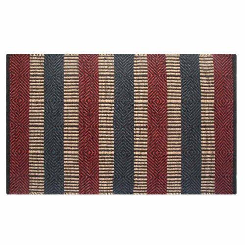 Homescapes Naturfaser Teppich Vorleger 120 x 180 cm 100% Jute Teppich rot blau beige geometrisches Muster Raute gestreift (Sisal-teppich, Fliesen)
