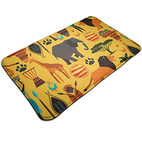 "Dimension Art Africa Zoo Animals Memory Foam Bath Mat Non Slip Absorbent Super Cozy Soft Velvet Bathroom Rug Carpet, 19.7"" X 31.5"""