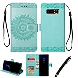 Note 8 Flip Case,Beddouuk Vintage Flower Pattern PU Leather Wallet Case with Card Slots Holster,Book Style Design Protective Folder Case Cover for Samsung Galaxy Note 8(Green,Totem)