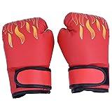 Alomejor 1paio di guanti da boxe in pelle PU punzonatura guanti da allenamento bambino Muay Thai guanti da combattimento per bambini dai 7a 13, Red