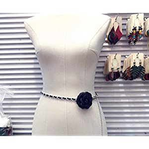 NHGY Frau schwarzer Blume Kette, Hummer – Verschluss Taille – Kette, modische taillengürtel