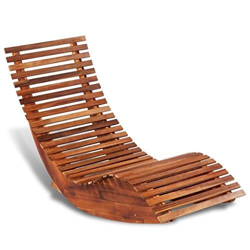 Festnight Chaise Longue à Bascule en Bois 149 x 60 x 86 cm Bain de Soleil