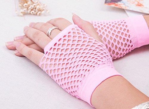 bancn Mädchen Kurz Fischnetz Handschuhe Handgelenk Handschuhe Stage Performance Handschuhe (Rosa)