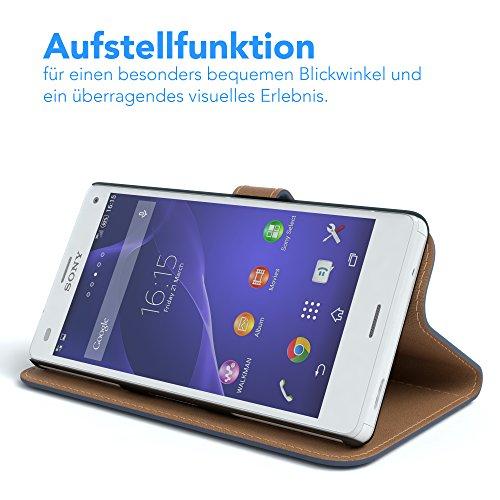 Sony Xperia Z3 Compact Hülle - EAZY CASE Premium Flip Case Handyhülle - Schutzhülle aus Leder in Braun Dunkelblau (Book)
