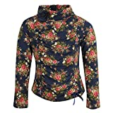 Cutecumber Girls Sweater Knit Floral Printed Navy Top -(2287A-NAVY-28)