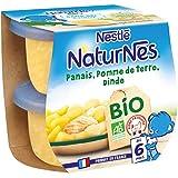 Nestlé Naturnes 16 BIO Petits Pots Bébé Panais Pomme de Terre Dinde dès6 mois- Pack de 8