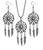 #8: The Jewelbox Feather Sun Oxidised Tribal Bohemian German Silver Blue Pendant Earring Set Women Gift