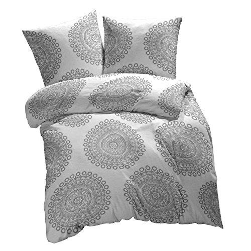 etérea 2 tlg. Mikrofaser Bettwäsche-Set - Ganzjahres & 4-Jahreszeiten Bettbezug - Mandala Grau, 155x200 + 80x80 cm Grau