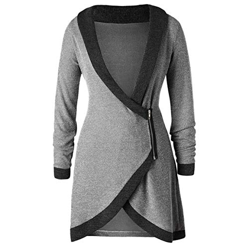 Mode Damen Lange Pullover Frauen gestrickte Bluse Langen Mantel Schal Kragen Kontrast Trim seitlichem Reißverschluss Cardigan Moonuy - Nightmare Before Christmas-schal