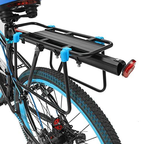 OUTERDO Porte-bagages Arriere Velo en Aluminium Reglable VTT Transporteur Selle Serrage Rapide Support Velo Racks avec Reflecteur