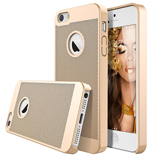 iPhone 5 5s SE Hülle, Dexnor Apple iPhone 5 5s SE Hülle Gold Matt Handyhülle Ultra Slim Honeycomb Hardcase Dünne PC Hard Schutz Rückseite Protective Bumper Backcover Tasche