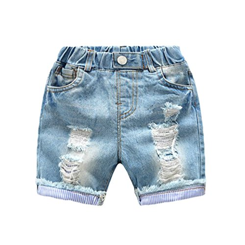 Yiiquan bambini pantaloncini estate jeans strappato casuale jeans corti azzurro 120cm