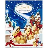 Lindt Milk Chocolate Advent Calendar, 24 Assorted Milk Chocolate Surprises, Gold Reindeer, Milk Santa, Napolitans, Lindor, Snowdrops, 160g (Pack of 2)