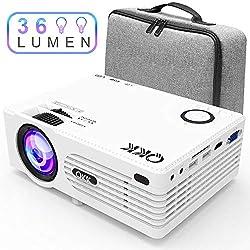 Projecteur QKK [Avec Étui], Mini Projecteur avec 3600 Lumens, Vidéoprojecteur, Rétroprojecteur Prend en Charge 1080P Full HD, Compatible avec HDMI VGA AV SD USB, Home Théâtre Projecteur, Blanc.