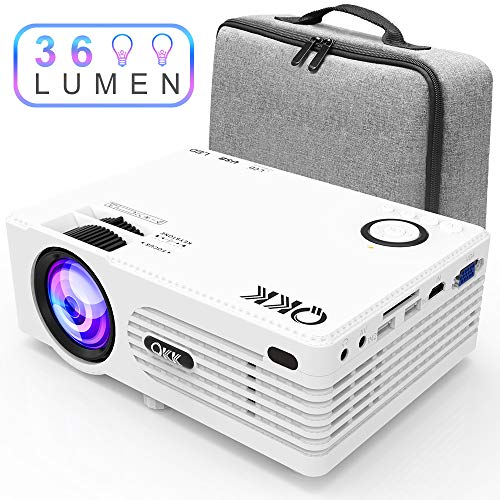 Projecteur QKK [Avec Étui], Mini Projecteur avec 3600 Lumens,...