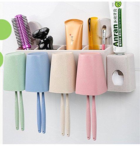 Automatische Zahnpastaspender und Zahnbürstenhalter Set, HomeYoo Weizenstiel Wandhalterung Multifunktionale Zahnpasta Squeezer mit Rinse Cups und Zahnbürste Slots Badezimmer Speicher Organisator Set (4 Tassen) (Slot Wandhalterungen)