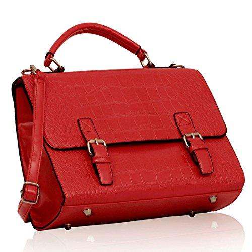 Zarla-Tracolla da donna in finta pelle effetto coccodrillo, a spalla, a tracolla e a mano Rosso (rosso)
