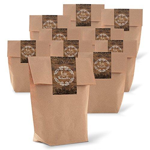 25 braune natur weihnachtliche Verpackung Geschenk-Tüten Kraftpapier 14 x 22 x 5,6 cm + 25 Aufkleber Sticker FROHE WEIHNACHTEN vintage Nostalgie Verpackung Weihnachtsgeschenk Kunden-Geschenk give-away