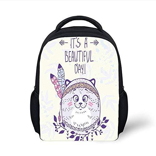 Kids School Backpack Cat,Stylish Native American Indian Hippie Cat with Ethnic Tribal Feathers Artsy Cartoon,Purple Cream Plain Bookbag Travel Daypack Hippie Cat