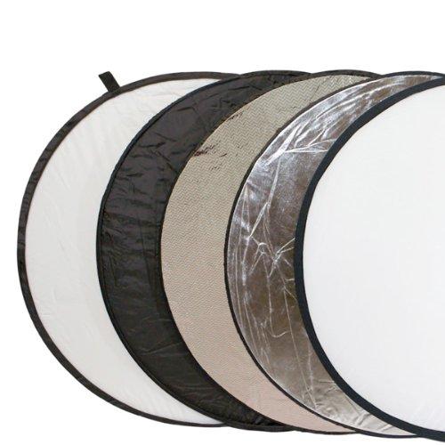 Delamax 5in1 Faltreflektor spezial 107cm Durchmesser - silber/weiß und schwarz/gold-silber und Diffusor - mit spezieller...