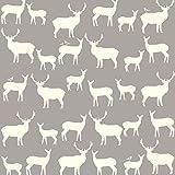 Jersey Knit Stoff–Deer Vogel grau–Jersey Knit Stoff–birchj05–Schneidern & Kinder Kleidung Stoff–100% Bio Baumwolle–0,5m