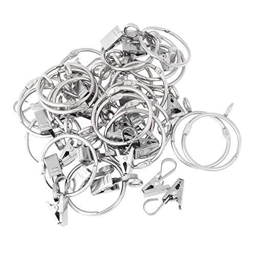 VORCOOL 24 Stück Vorhangringe mit Clips Haken Metall Gardinenringe zum Öffnen und Schließen für Vorhänge Fotos Dekoration (Silber) -