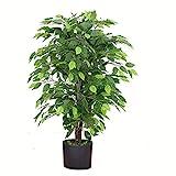 Leaf Design UK Kunstpflanze/Kunstpflanze, 90 cm, buschig, schwarzer Kunststofftopf