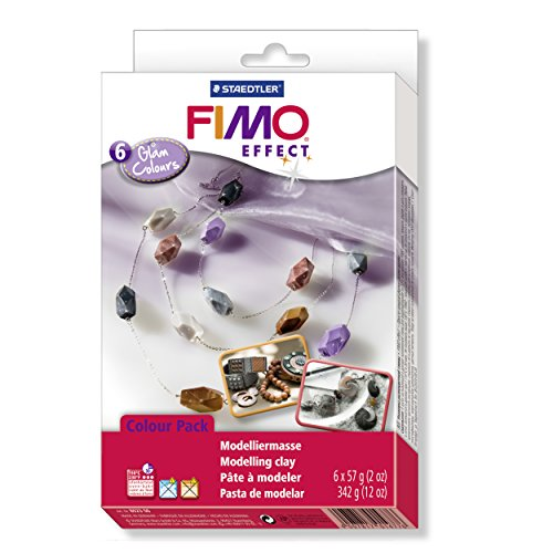 Staedtler 8023 06 - Fimo soft Materialpackung Glam Colours, 6 Blöcke, -