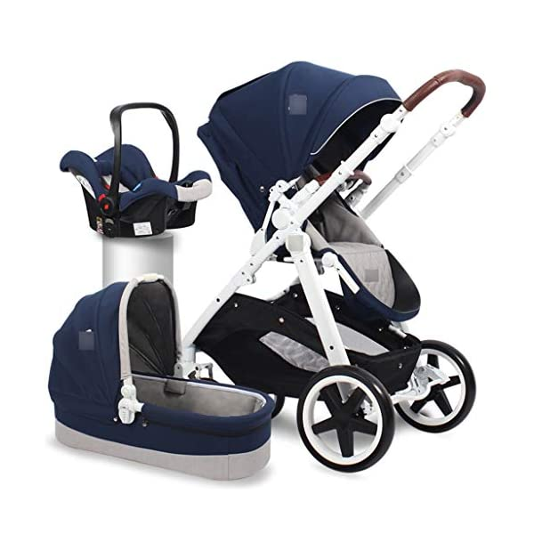 Baby Stroller Portable Seat High Landscape Stroller European Two-way Shock Absorber Trolley Folding (Color : BLUE, Size : 107 * 60 * 66CM) Strollers Zhangsisi ☻【Scope of use】Twin strollers for urban and rural multi-purpose trolley bearing an amazing amount of public plate, and comfortable to use, powerful ☻【powerful functions】 Convenient for travel and driving, our baby car is easy to fold, small footprint, single wheel suspension, front tray, accessories, adjustable seat angle, sturdy frame with adjustable seat adjustment and comfortable fit baby chair. ☻【safe and comfort】 Baby can not afford to hurt, the most important health, safety and comfort, a key release of 5-point seat belts. 3