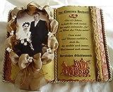 Eiserne Hochzeit -65-jähriges Ehejubiläum- Dekobuch für Foto (mit Holz-Buchständer), Schmuckbücher für alle Anlässe,(Taufe,Schulanfang,Geburtstag,Silber-,Goldene-,Perlen-,Rubin-,Diamantene Hochzeiten, Erinnerungs- u. Trauerbuch usw.)