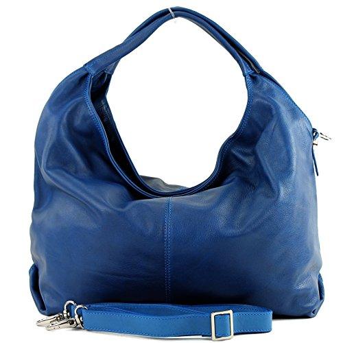 modamoda de - ital. Ledertasche Damenhandtasche Schultertasche Damentasche Nappaleder DS26 Blau