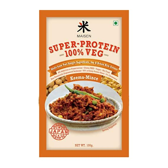 Maisen Super-Protein 100% Veg Mince-KEEMA 'Made from Two Simple Ingredients, Soy & Brown Rice Extract' -Made in Japan (Pack of 4)