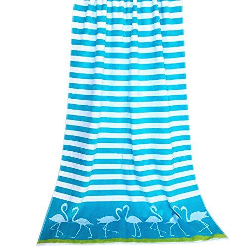 HIFUAR Mikrofaser Strand Reise Handtuch mit Cabana Streifen Muster Quick Dry für Dicker Gym Größe 180x 90cm, Blau/Weiß, 180cmx90cm - Cabana Streifen Strand Handtuch