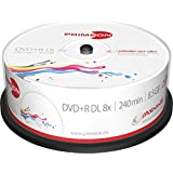 Primeon 2761252 Dvd + R Media (Velocidad De 8X, 8,5 Gb, 240 Minutos, 25Er Spindel)