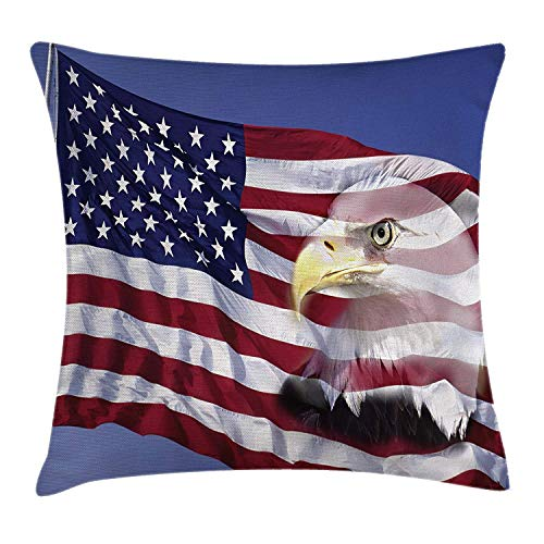 Flag Throw Pillow Cushion Cover, Bless America Flag in The Wind with Eagle Icon Double Exposure Citizen Image, Decorative Square Accent Pillow Case, 26 X 26 inches, Multicolor ()