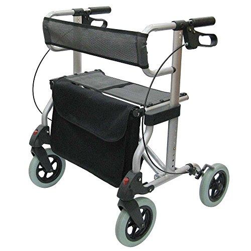 Leichtgewicht-Rollator Reise-Rollator Magic S - 6,8 kg leicht 60 cm schmal, passt (fast) durch jede Tür, Vollausstattung, Rückengurt, Tablett, Stockhalter, Tasche