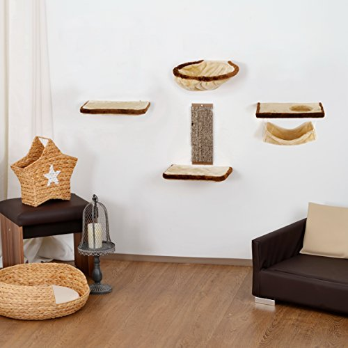 *Katzenkletterwand, Kletterwand für Katzen 6-teilig beige-braun*