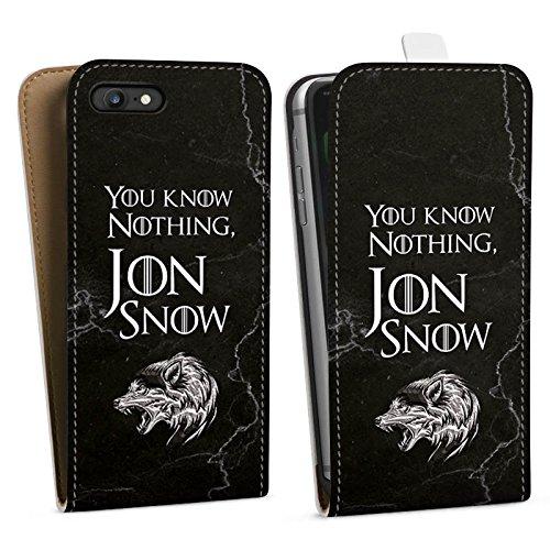 Apple iPhone 8 Hülle Case Handyhülle Jon Snow GOT Game of Thrones Downflip Tasche weiß