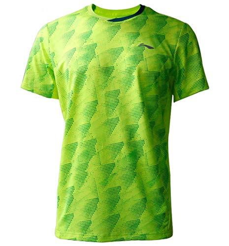 Li Ning Herren Badminton Wettkampf-T-Shirts Jersey 88% Polyester 12% Spandex Teamwear Futter bei Dry Basic Sport Tees AAYP063 - Grün - Groß