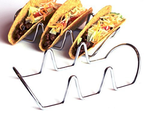 Premium Taco Holders. Restaurant Style Stainless Steel Racks. Each Stand Holds Three Hard or Soft Shells. Easy Fill and Serve Mexican Food by Chefocity