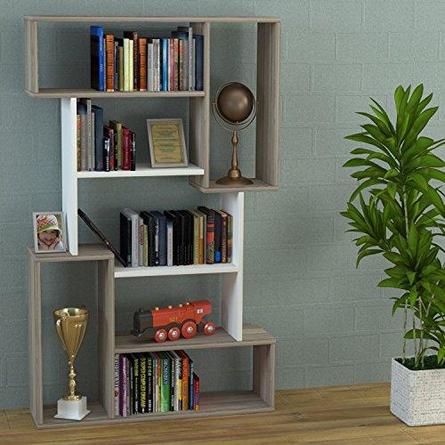 CORGIN Libreria - Avola / Bianco - Scaffale per libri - Scaffale per ufficio / soggiorno dal design moderno