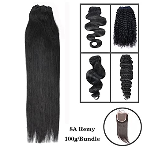 8-30 Pouces 1 Bundle 3 Bundles promotion 8A 100% Bresilien Cheveux humains Vierges Cheveux Humains Weave 100g Extensions capillaires/ Noir naturelle Silky Straight 30cm(12