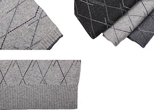 71326f404c23f9 UP Herren Business Pullunder Slim Fit Vest Stricken V-Ausschnitt Argyle  Muster Wolle
