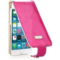 Pipetto iPhone 6 / iPhone 6S Hülle, Apple iPhone 6 / iPhone 6S Hülle Leder Display Klappe schlank Designer 100% Echte Schlangenhaut (Rosa)