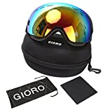 Snow Ski Goggles,Gioro Professional Snowboard / Snowmobile Goggles,Anti-slip Adjustable Elastic Head Strap, Anti-fog Windproof UV Protection with Double Spherical Lens for Skiing Snow Skate Winter Couple Sports Goggles-for Adults and Youth (Black Frame Red Lens(VLT17.3%))