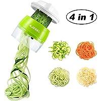 AJOXEL Cortador de Verduras Espiral, 4 IN 1 Espaguetis Vegetales Espiralizador Vegetal Slicer Verdura Rallador de Verduras Mandolina de Cocina para Espaguetis de Calabacín, Zanahorias, Pepinos