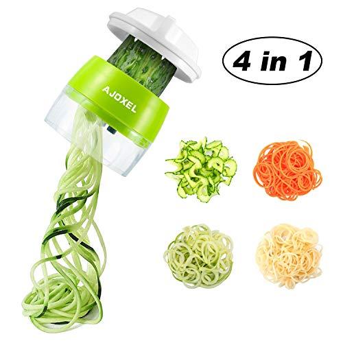 AJOXEL Spiralschneider Hand für Gemüsespaghetti, 4-in-1Gemüseschneider Gemüsenudeln & Gemüse Spiralschneider,Zwiebelschneider für Obst, Zucchini Spaghetti,Zwiebeln,Karotten, Gurke