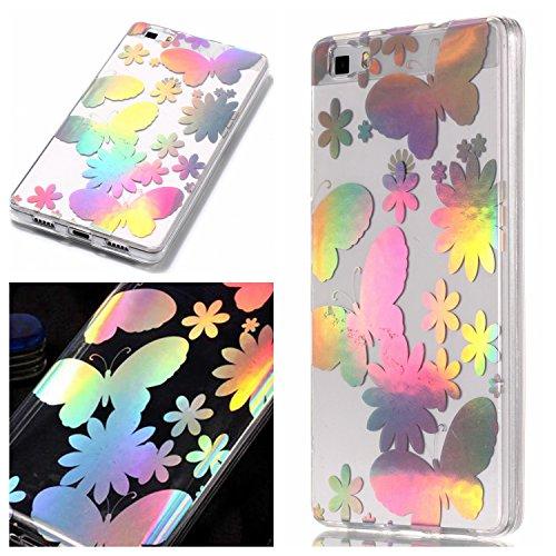 Klassikaline Coque Huawei P8 lite, Huawei P8 lite Téléphone Coque/Coque Etui case cover pour [Huawei P8 lite] - Papillon fleur